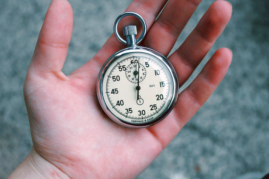 Stopwatch in your hand to measure time.