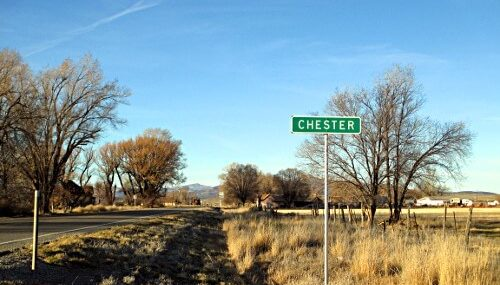 A street sign in Chester Utah.